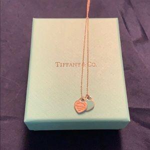 Tiffany's Mini Double Heart Tag Pendant Necklace